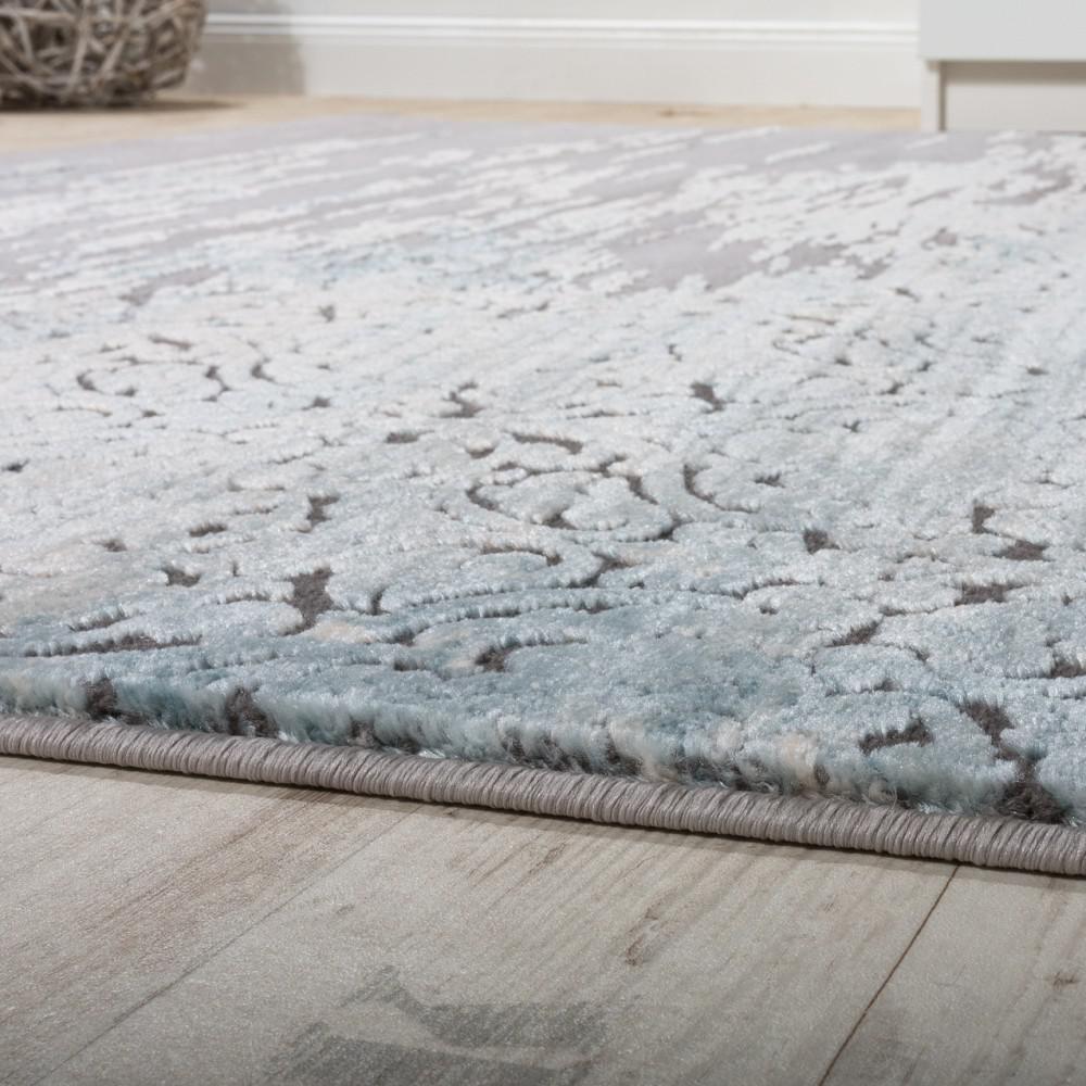 Designer teppich wohnzimmer moderne ornamente muster meliert grau ...
