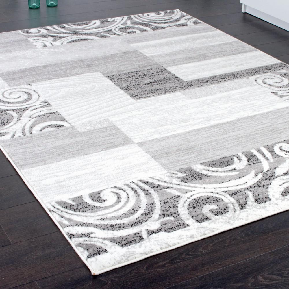 ... Teppich Wohnzimmer Teppich Kurzflor Muster in Grau Creme Preishammer 2