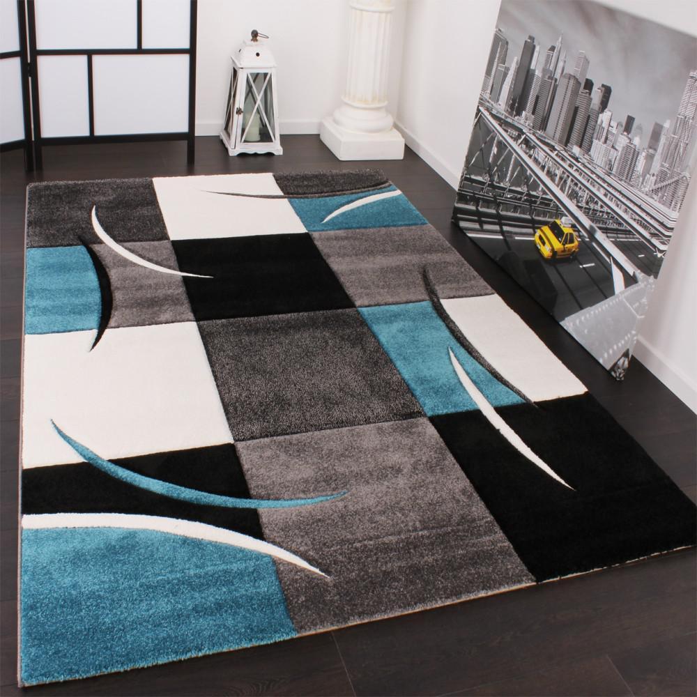 designer teppich mit konturenschnitt karo muster türkis grau ... - Wohnzimmer Schwarz Weis Turkis