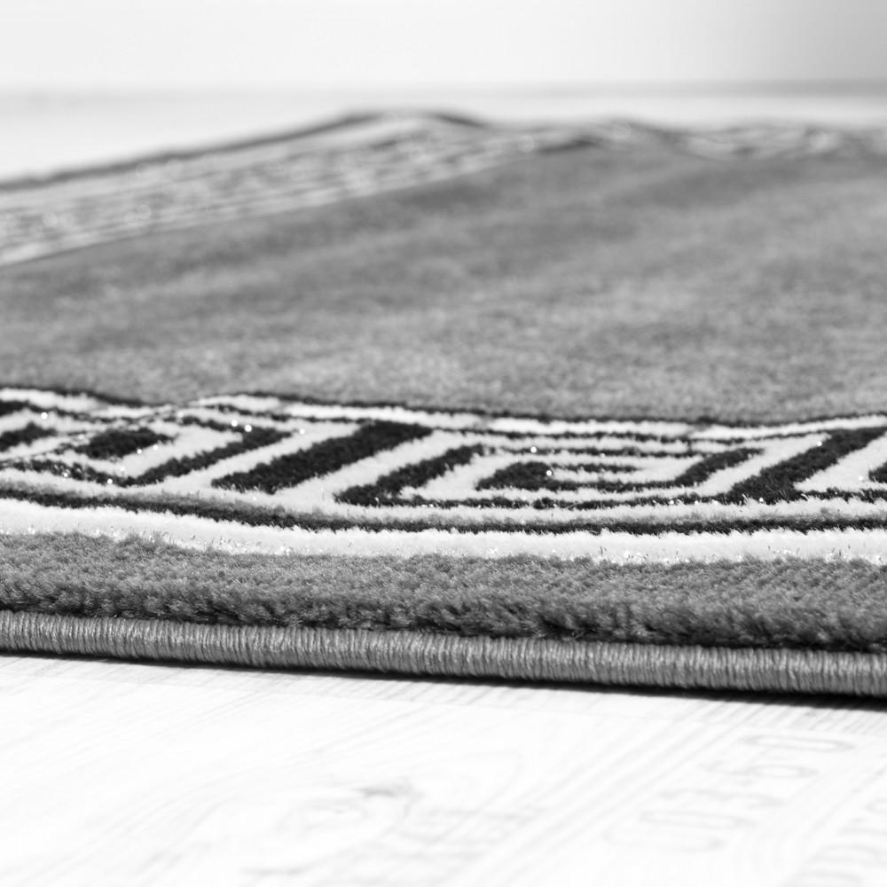 Designer teppich mit glitzergarn klassische ornamente bordüre grau ...