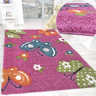 Kinderzimmer Shaggy Teppich Bunte Schmetterlinge Kinder Teppich Hochflor Pink