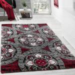 Designer Teppich Klassische Kreis Ornamente Schwarz Rot AUSVERKAUF