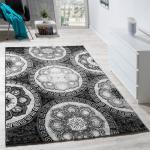 Designer Teppich Klassische Kreis Ornamente Schwarz AUSVERKAUF