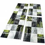 Bettumrandung Teppich Marmor Optik Karo Grau Schwarz Grün Läuferset 3 Tlg