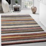 Designer Teppich Wohnzimmer Kurzflor Mehrfarbig Gestreift Braun Creme Gelb Weiß