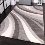Velours Kurzflor Teppich - Winchester - Modern Wellen Muster in Grau