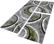 Bettumrandung Teppich mit Konturenschnitt Grau Grün Schwarz Läuferset 3 Tlg