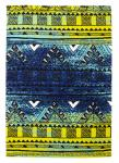 Designer Teppich Maya Muster Gruen Blau