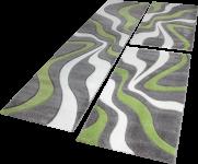 Bettumrandung Teppich Konturenschnitt Wellen in Grau Grün Creme Läuferset 3 Tlg.