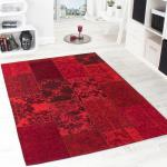Vintage Teppich -Antik- Trendiger Patchwork Stil Designer Teppich in Rot