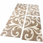 Bettumrandung Läufer Teppich Modern Ranken Muster Beige Creme Läuferset 3 Tlg.