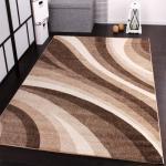 Velours Kurzflor Teppich - Winchester - Modern Wellen Muster in Creme Beige