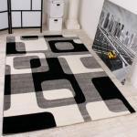 Designer Teppich in Grau Schwarz Weiss Retro Design