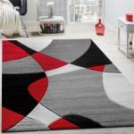 Designer Teppich Modern Geometrische Muster Konturenschnitt In Rot Schwarz Grau