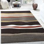 Designer Teppich Modern Wohnzimmer Konturenschnitt Wellen Optik Braun Beige