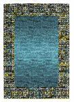 Designer Teppich Maya Muster Borduere Tuerkis Meliert