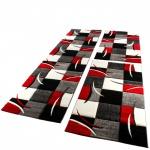 Bettumrandung Läufer Teppich Modern Karo Rot Grau Schwarz Weiss Läuferset 3 Tlg.
