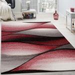 Designer Teppich Modern Abstrakt Wellen Optik Konturenschnitt In Creme Grau Rot