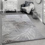 Designer Teppich Modern Wohnzimmer Teppiche 3D Palmen Muster In Grau Beige Creme