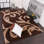 Designer Teppich Festival mit Konturenschnitt Muster Braun Beige Brown Creme