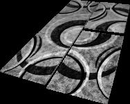 Bettumrandung Teppich mit Konturenschnitt Grau Schwarz Creme Läuferset 3 Tlg.