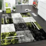 Designer Teppich Modern mit Konturenschnitt Karo Muster Grau Schwarz Grün AUSVERKAUF
