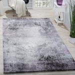 Designer Teppich Wohnzimmer Teppiche 3D Edel Shabby Chick Vintage In Grau Lila