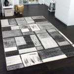 Velours Kurzflor Teppich - Winchester - Teppich Modern Karo Muster in Grau