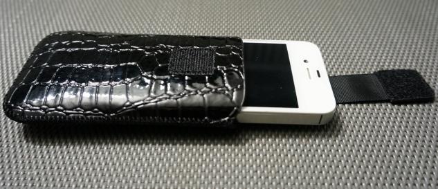 Handy-Tasche Croco schwarz - Vorschau 3