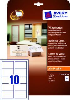 Visitenkarten matt glatte Kanten weiss 85x54mm 100 Karten - Vorschau 2