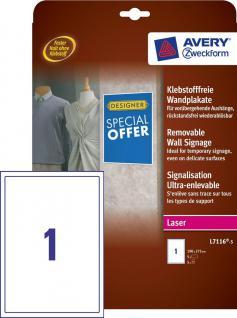 Klebstofffreie Wandplakate weiss 190x275mm 5 Stück - Vorschau 1
