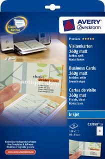 Falt-Visitenkarte 260g DIN A4 matt weiss 100 Karten - Vorschau 1