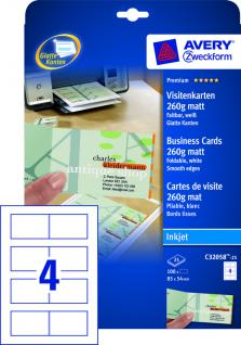 Falt-Visitenkarte 260g DIN A4 matt weiss 100 Karten - Vorschau 2