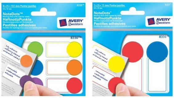 Haftnotiz-Punkte 3-farbig sortiert64x25mm 75x