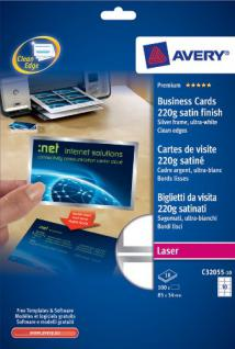 Premium Visitenkarten weiss mit Silberrahmen 220g DIN A4