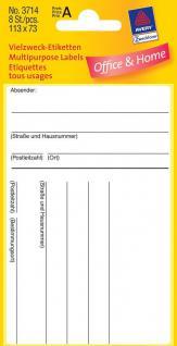 Adress-Etiketten breit weiss 113x73mm 8 Etiketten - Vorschau 1