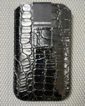 Handy-Tasche Croco schwarz