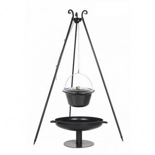 Outdoor Grill mit Feuerschale Pan 41, Dreibein, Emaillierter Kessel verschiedene Größen