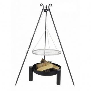 Outdoor Grill mit Feuerschale Pan 38, Dreibein, Rost Edelstahl o. Rohstahl verschiedene Größen
