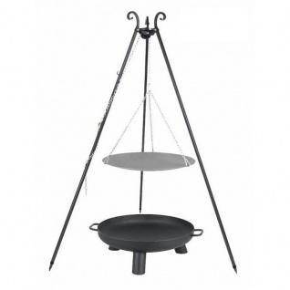 Outdoor Grill mit Feuerschale Pan 37, Dreibein, Lagerfeuerpfanne verschiedene Größen