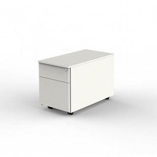 Rollcontainer Form 4 weiss 1 Stahlschublade + 1 Hängeregistratur