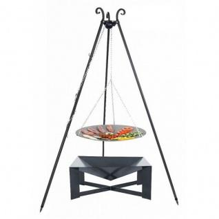 Outdoor Grill mit Feuerschale Pan 34, Dreibein, Lagerfeuerpfanne verschiedene Größen