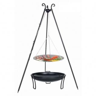 Outdoor Grill mit Feuerschale Pan 39, Dreibein, Lagerfeuerpfanne verschiedene Größen
