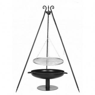 Outdoor Grill mit Feuerschale Pan 41, Dreibein, Rost Edelstahl o. Rohstahl verschiedene Größen