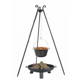 Outdoor Grill mit Feuerschale Pan 37, Dreibein, Kessel Edelstahl verschiedene Größen