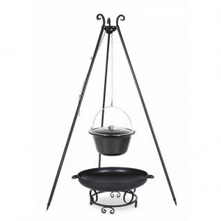 Outdoor Grill mit Feuerschale Pan 43, Dreibein, Emaillierter Kessel verschiedene Größen