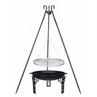 Outdoor Grill mit Feuerschale Pan 40, Dreibein, Rost Edelstahl o. Rohstahl verschiedene Größen