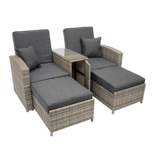 doppelliege funktionssofa mit mitteltisch polyrattan. Black Bedroom Furniture Sets. Home Design Ideas