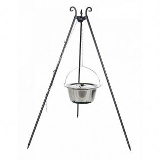 Outdoor Grill mit Feuerschale Pan 35, Dreibein, Kessel Edelstahl verschiedene Größen