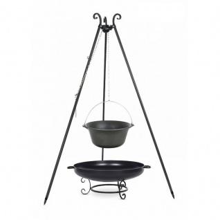 Outdoor Grill mit Feuerschale Pan 42, Dreibein, Kessel Gusseisen verschiedene Größen
